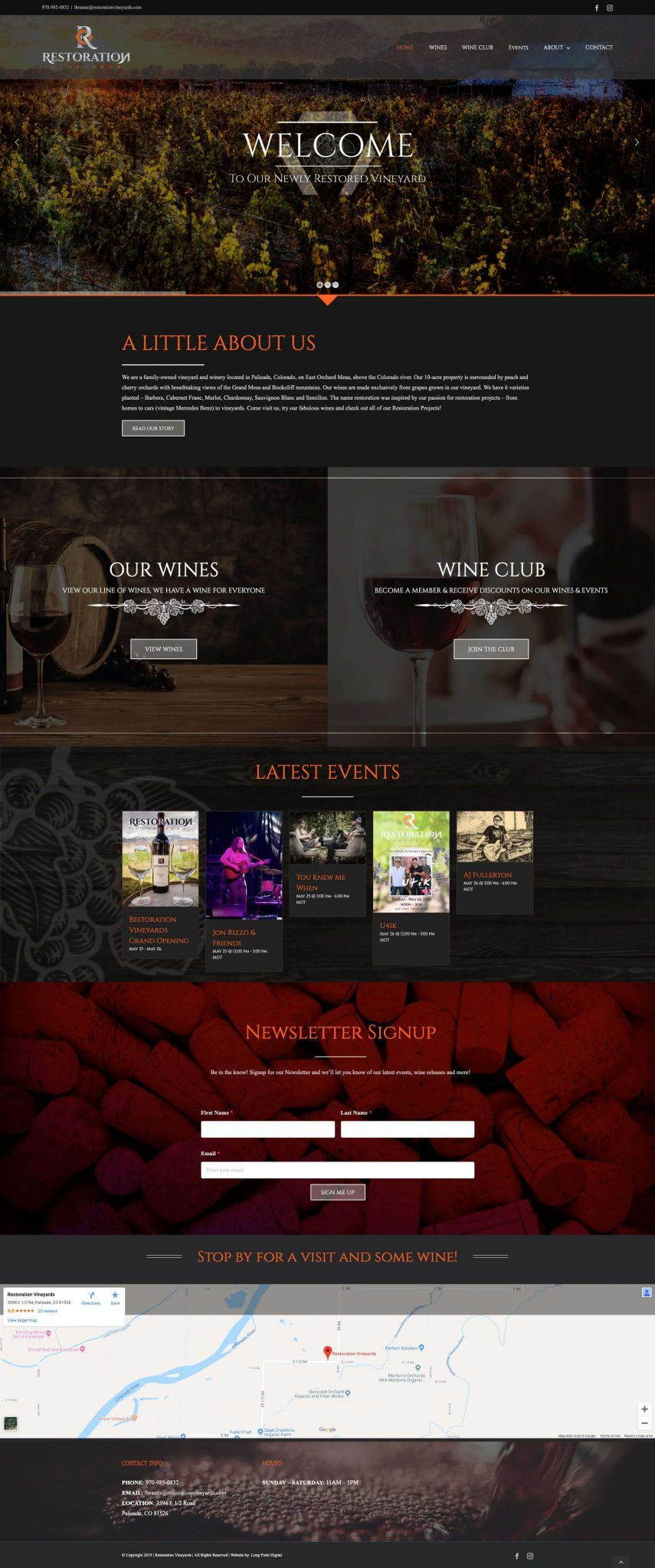 Restoration Vineyards website